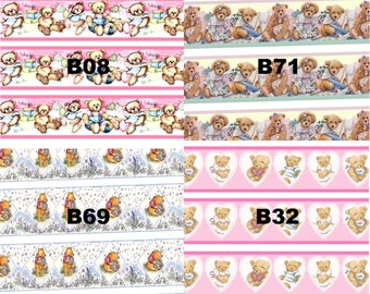 Dolls House Wallpaper Border 77 ins long 1/12th 1/24th choice of 4 designs Teddies