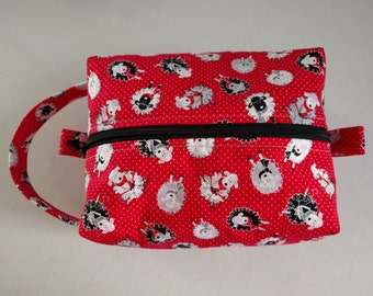 Mini sheep red boxy pouch, sock knitting, knitting project bag, comes with free bonus notions pouch