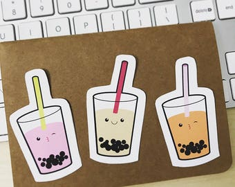 NEW! Mini Cute Bubble Tea stickers, high quality die cut, boba sticker