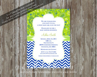 "Baby Shower invitations - Digital file ""Paisley - Blue & Lime"" design"