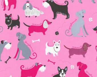 Robert Kaufman Pink Classy Canines Allover Fabric - 1 yard