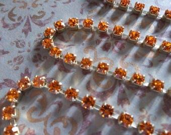 3mm Orange Rhinestone Chain - Brass Setting - Sun Orange Preciosa Czech Crystals