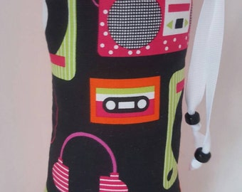 Hand Pipe Sized, Medium Sized,  Glass Pipe Bag, Turn Tables, Headphones, Cassette Tapes, Music, Microphone, Print, Padded, Pipe Pouch