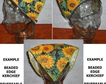 Closeout Clearance! Fabric Reversible Head Scarf Kerchief Bandana Headscarf Your Choice Beaded Edge Country Rockabilly Accessory Fashion