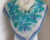 """Vera Neumann // Blue White Floral Sheer Silk Scarf  // 29"""" Inch 74cm Square"""