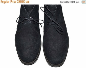 ON SALE Vintage W. Barrett & Co. England Black Suede Shoes Size 9 Made in Uk Chukka Ankle Boots