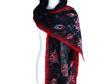 Nunofelted scarf, flowers, red and black, unique handmade