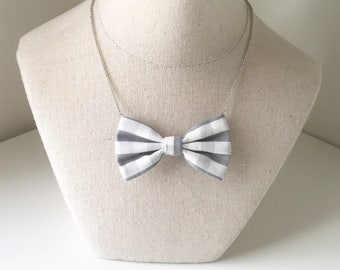 Grey white Checkered - Bow Tie Necklace, Casual Bowtie Gray Checkers