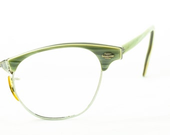 American Optical Vintage Cat Eye Glasses, Olive Green Browline Style, 1950s, 1960s