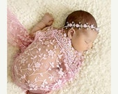 ON SALE Pink Lace Wrap and Headband, Wrap Set, Fringe Lace Wrap, Baby Headband, Newborn Photo Prop, Baby Girl Prop