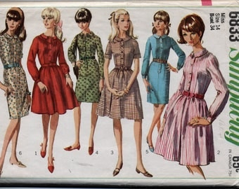Vintage Misses' One-Piece Dress With Two Skirts Sewing Pattern - Simplicity 6833 - Size 14 - UNCUT