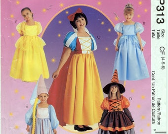 Children's Storybook Costumes: Rapunzel, Cinderella, Snow White, Witch, Belle Costumes - McCall's P313 - McCall's 2856 - Sizes 4-5-6 - UNCUT