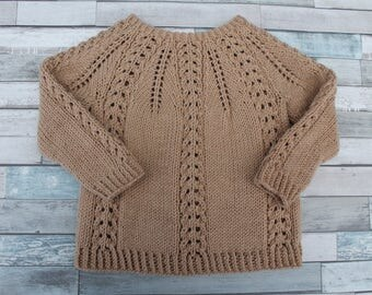 Hand Knit Lace Baby Sweater. Tan Baby Sweater. Beige Baby Pullover. Unisex Baby Sweater.