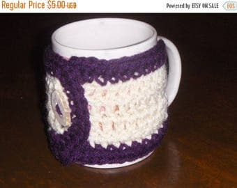 Gardenia and Plum.  Handmade Crocheted Coffee Cup Cozy with Deer Antler Button.  gift for her under 5 dollars . stocking stuffer