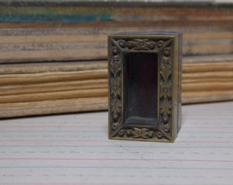 Small Brass Floral Frame Metal Print Block Stamp