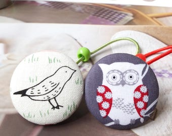 Girl Hair Accessories, Big Hair Tie Button Ponytail Holders - Forest Woods Black Sketched Bird Red Nordic Floral Hoot Owl on Gray(1 PCS)
