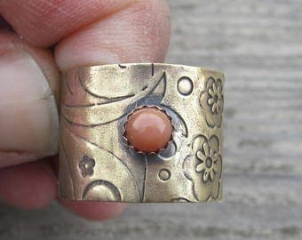 Peach Moonstone Brass and Copper Ring Moonstone Ring Mixed Metal Ring Size 9 Ring