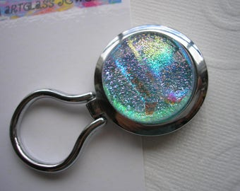 Iridescent Pastel Nurses Badge Holder Dichroic Glass Kiln Fired Magnetic Brooch Pale Blue Jewelry Converts to Pendant Eyeglass Keeper Dichro