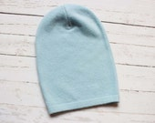 slouchy beanie etsy, cashmere beanie, blue cashmere beanie, light blue cashmere beanie, recycled cashmere, cashmere hat, miracle mittens