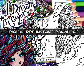 PDF DIGITAL Printable Coloring Book I Dream in Color Inspirational Journey All Ages Fantasy Mermaid Fairy Art by Hannah Lynn