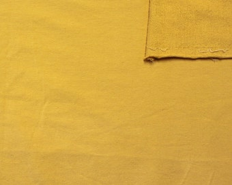 Solid Mustard Yellow 4 Way Stretch French Terry Knit Fabric With Spandex, 1 Yard