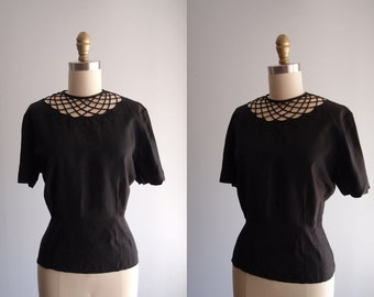 1940s Top Morlove The Couturier Blouse Black lattice neckline short sleeve button back shirt ... size M/L