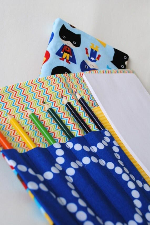 Super Boy Art Caddie-Notepad Holder-Marker Case-Drawing Book-Travel Activity-Quiet Activity-Grade School Gift-Boy Gift