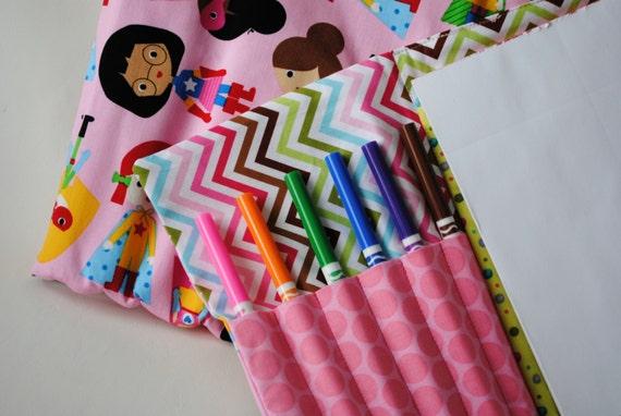 Super Girl Art Caddie-Notepad Holder-Marker Case-Drawing Book-Travel Activity-Quiet Activity-Grade School Gift-Girl Gift-kiki b omi designs