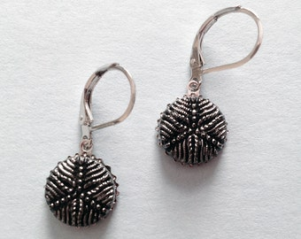 Early 1900s Black Glass Button Earrings with Silver Luster