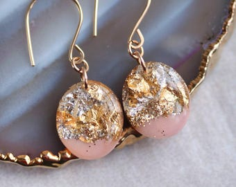 pink, silver and gold leaf drop earrings on 14 karat gold fill ear wires