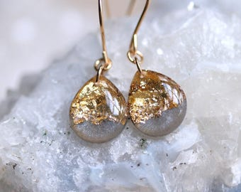 charcoal and gold leaf teardrop earrings on 14 karat gold fill ear wires