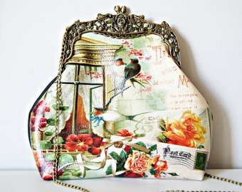 Rideaux Printed UP-Leather Frame Bag. Scene with window and birds vintage Frame Bag