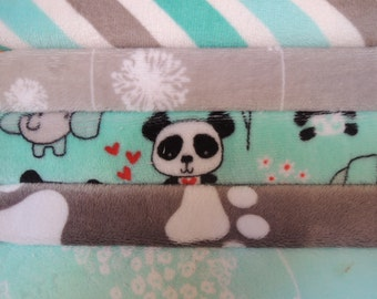 Rag Quilt Kit, Panda, Minky Fabrics in Teal and Grey,  Easy to Make, Bin F, Sewing Available