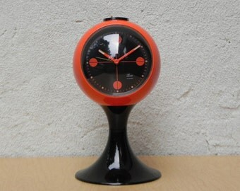 Florn Orange Round Pedestal Alarm Clock