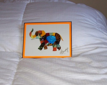 """Real  Butterfly Wings Framed """"Elephant"""" Collage"""