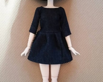 Dark quarter sleeve denim dress