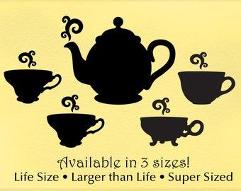 Kitchen Decor Wall Decals, Vintage Tea Cups & Teapot Decals (0172a3v)