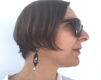 Silver and Black Beaded Earrings, Greca Symbol from Oaxaca, Mexico