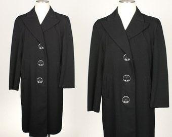vintage 1940s gabardine coat • oversized menswear tailored black overcoat