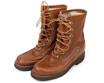 unworn vintage work boots • 1960s 70s mens moc toe boot
