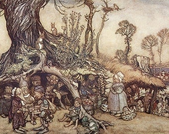 Little People's Market, Arthur Rackham, Vinatge Art Print