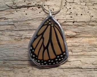 Real Butterfly Wing Necklace, monarch Pendant, real butterly jewelry