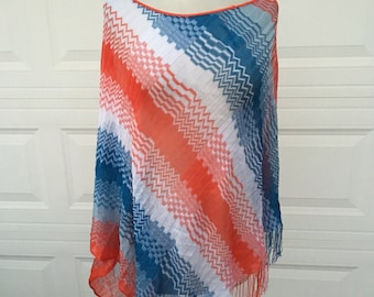 Vintage Missoni  knit chevron fringed scarf shawl poncho coverup made in Italy