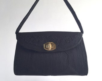 Navy Corded 1940's 1950's Handbag Purse