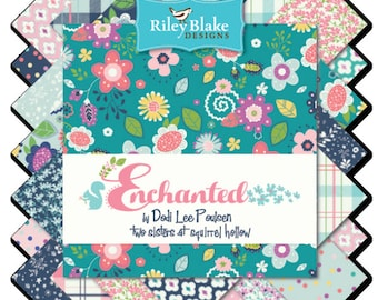 """Enchanted 5"""" Squares Charm Pack by Dodi Lee Poulson for Riley Blake, 18 pieces"""