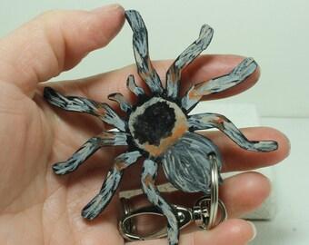 Tarantula  key chain Hand painted Leather