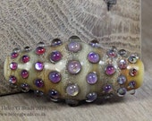 Bumpy, Lampwork Bicone Bead in ivory, purple and pink by Helen Gorick