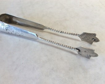 ANTIQUE SILVER TONGS - Beautifully engraved Sugar Tongs. Excellent.