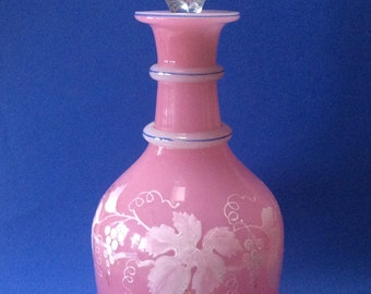 19th Century French Pink Glass Decanter Hand Painted Garland of Grapes & Leaves. Excellent.