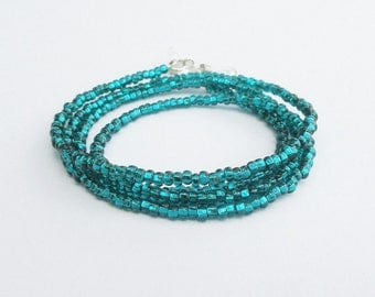 Emerald Glasses Chain, Seed Bead Eyeglass Chain Green Blue, Emerald Eyeglass Holder Necklace, Beaded Lanyard, Gift for Her, Under 20 Gift